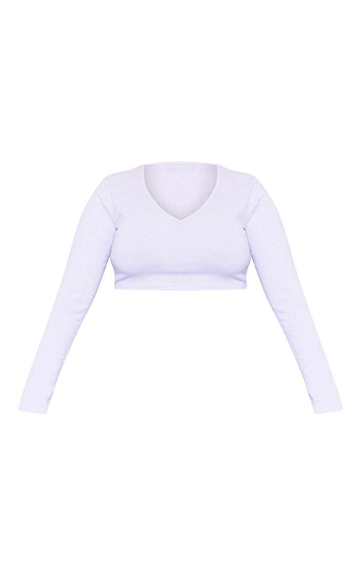 RECYCLED Plus Pale Violet Plunge Long Sleeve Crop Top 3