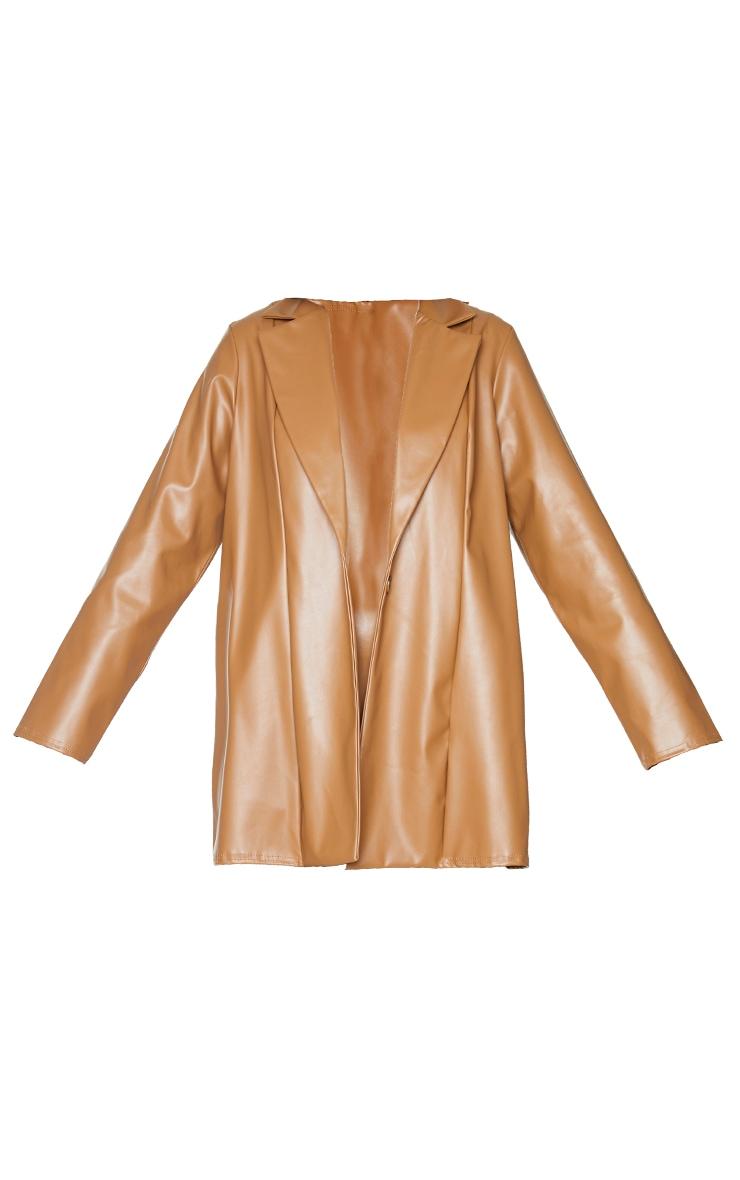 Tan Longline Lapel Detail Faux Leather Blazer 5
