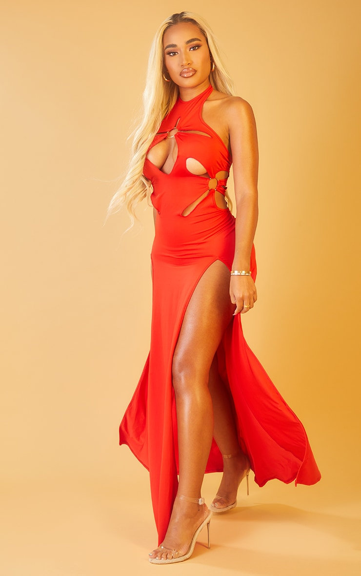 Shape Red Ring Detail Cut Out Racer Neck Maxi Dress 3