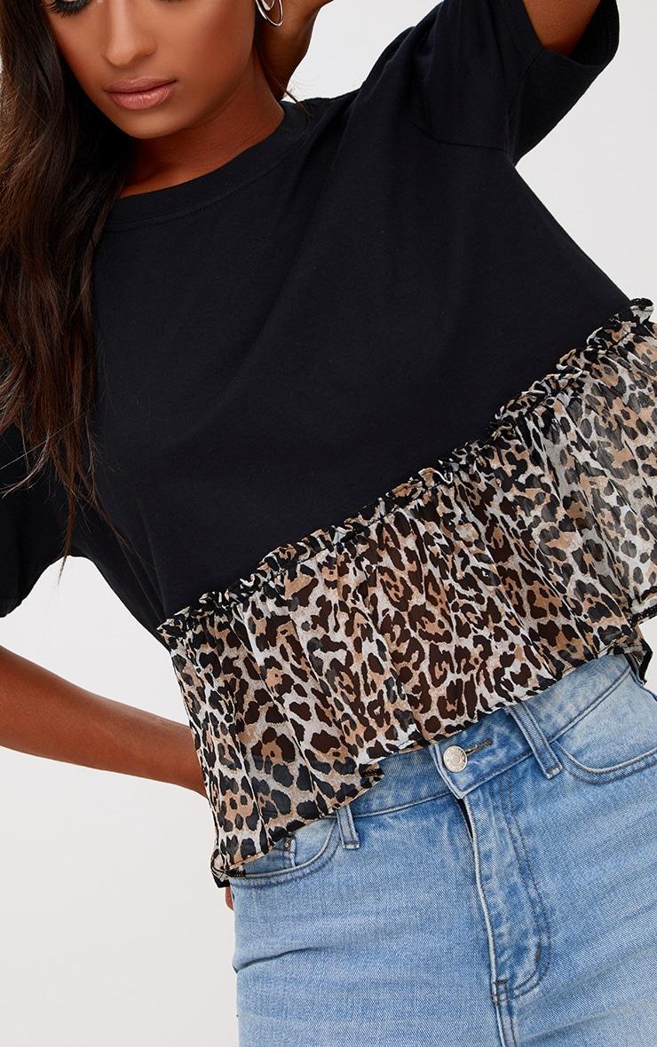 Leopard Print Frill Hem T Shirt 4