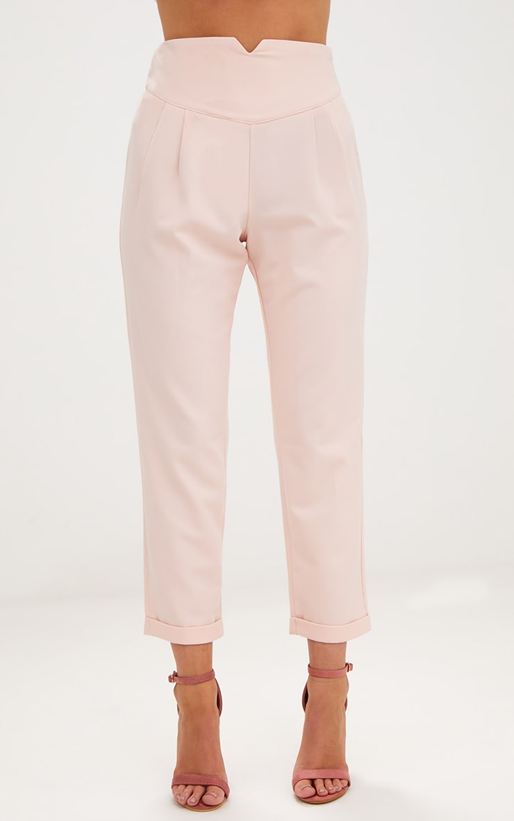 Petite Nude High Waisted Tapered Trousers 2