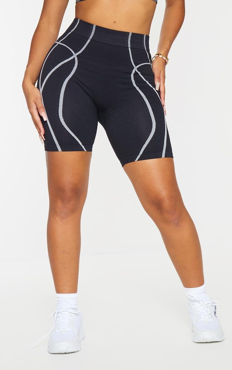 PRETTYLITTLETHING Shape Black Badge Gym Shorts 2