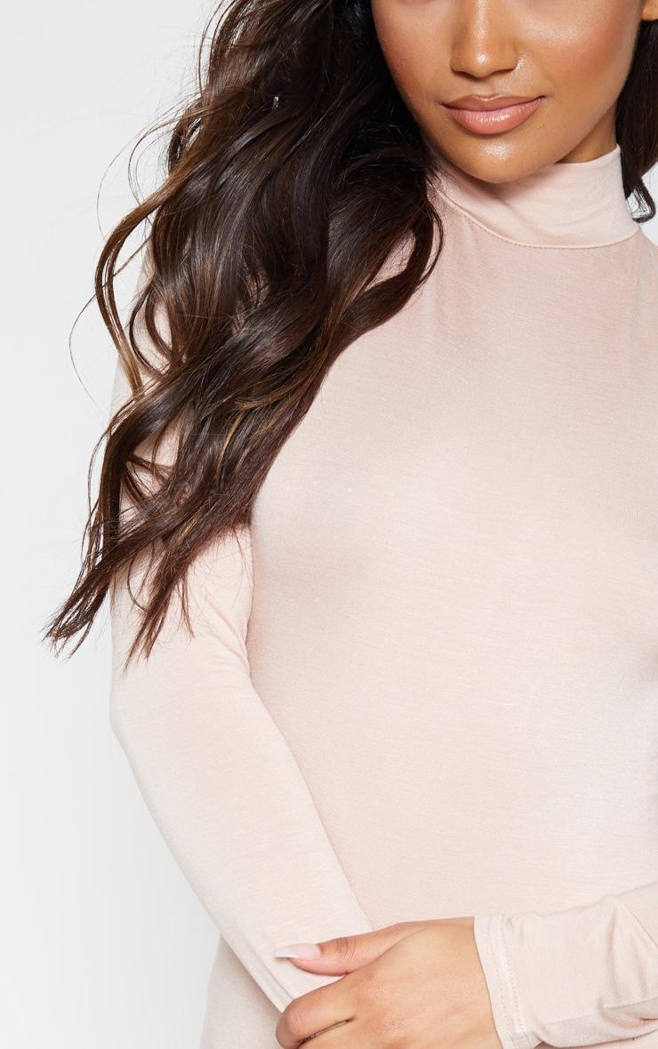 Deep Nude Curve Hem High Neck Bodycon Dress  5