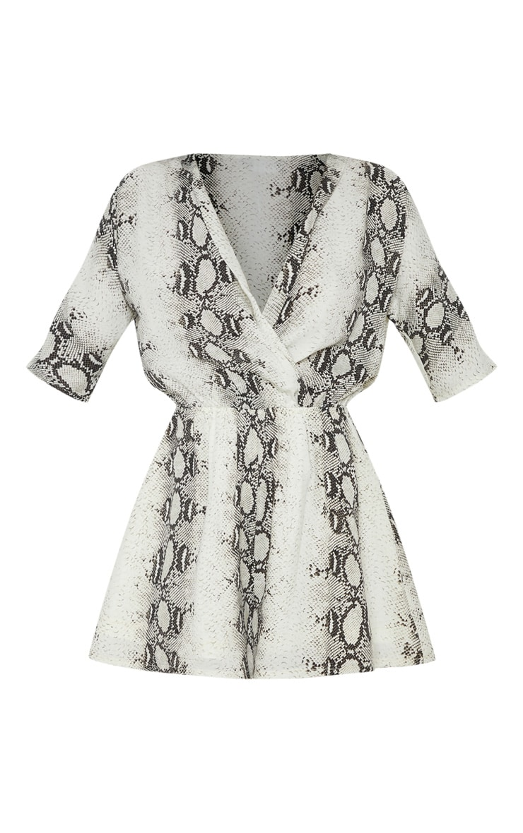 Grey Snake Print Wrap Front Playsuit 3