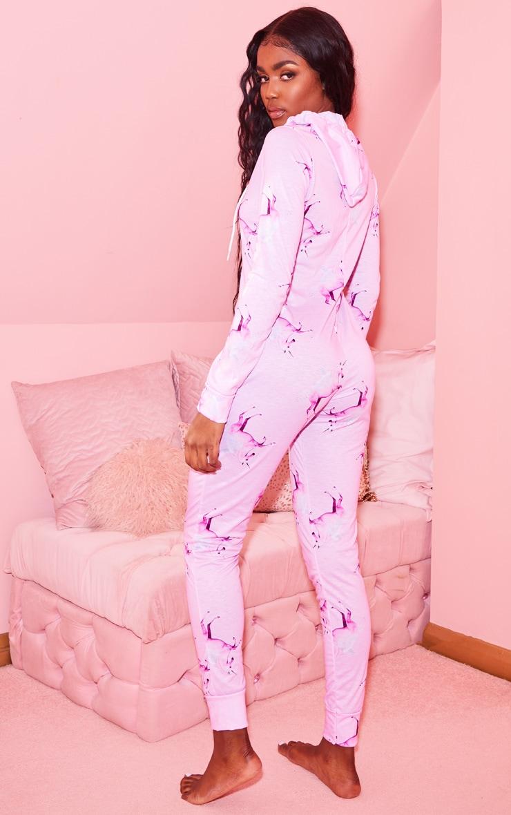 PRETTYLITTLETHING Pink Unicorn Print Onesie 2