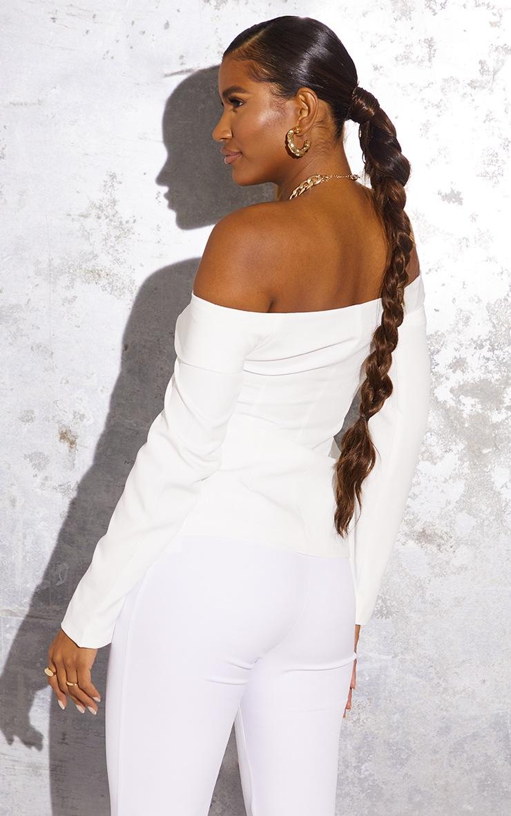 White Off The Shoulder Bardot Blazer 2
