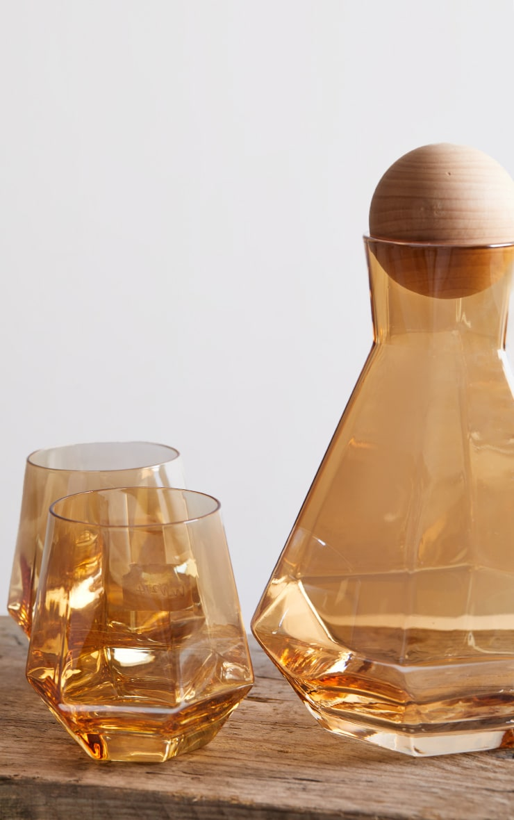 Amber Diamond Glass Drink Set 6