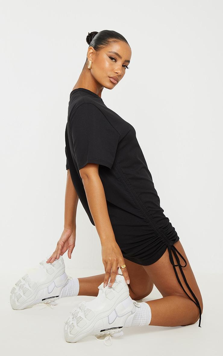 Black Cotton Ruched Side Short Sleeve T Shirt Dress 2