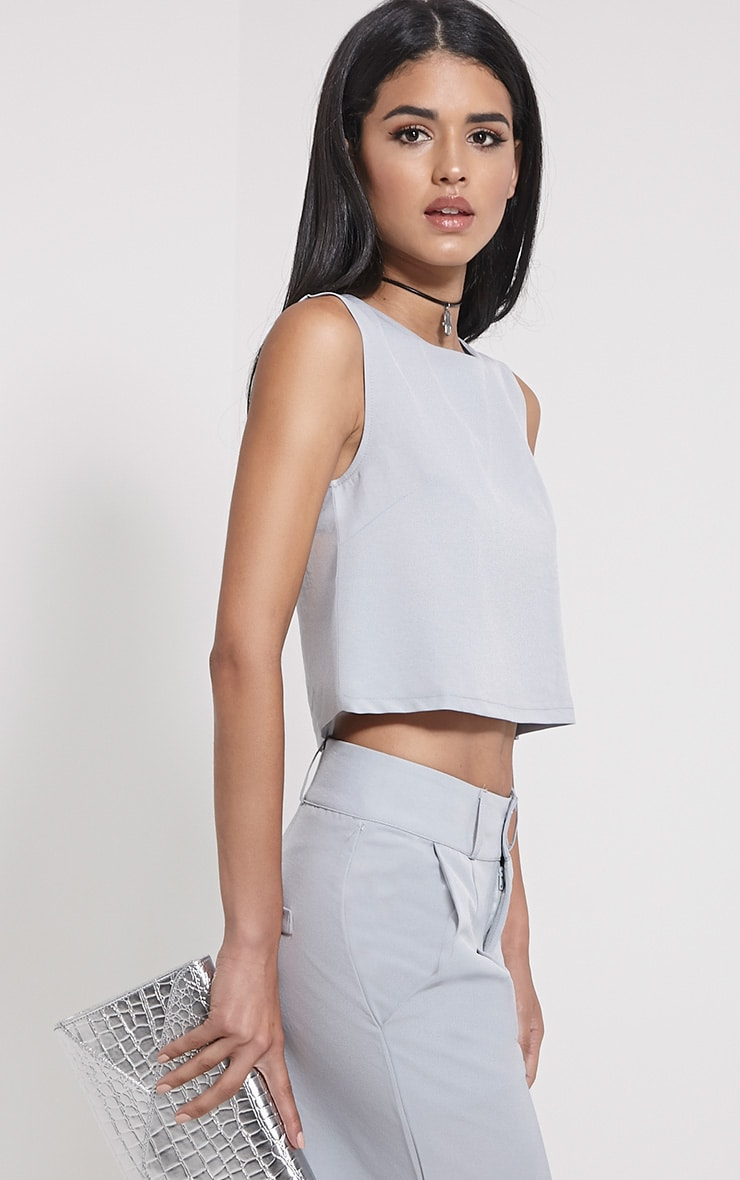 Harlow Grey Boxy Crop Top 1