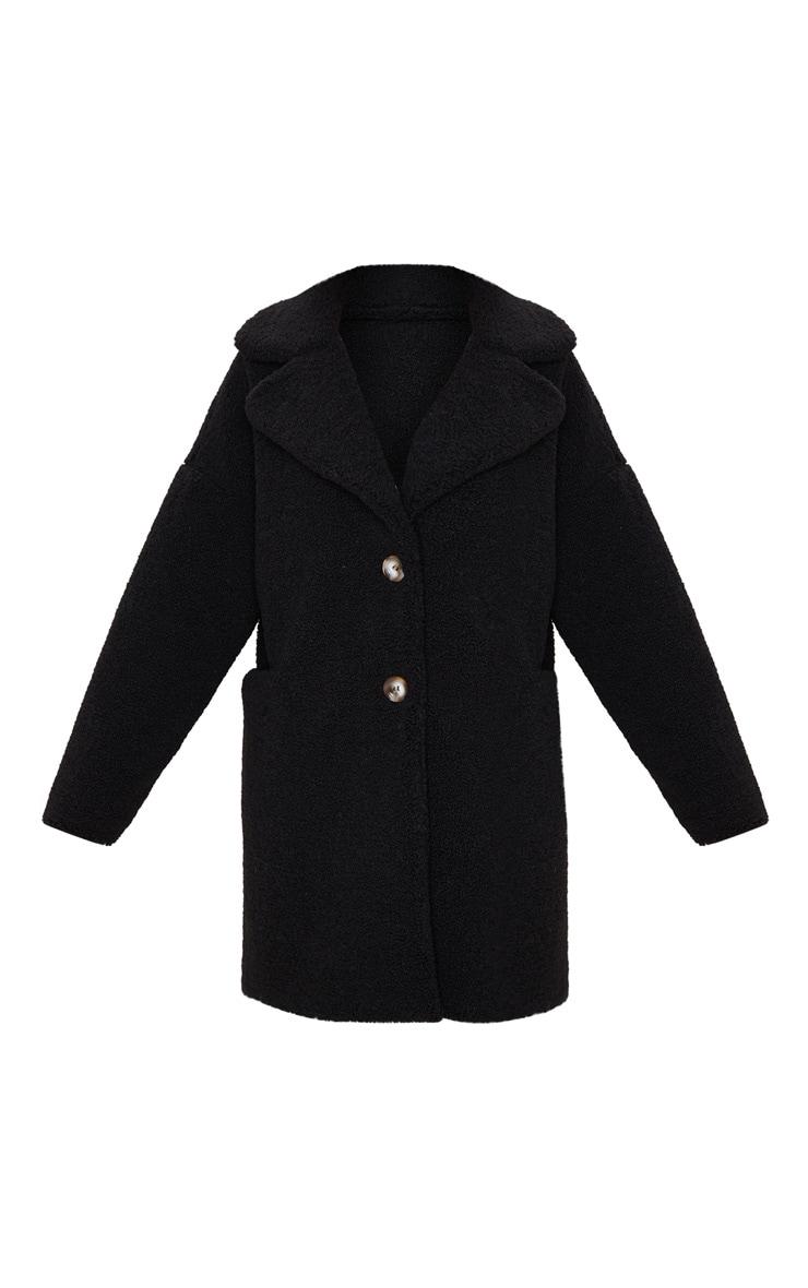Black Midi Teddy Borg Coat 3