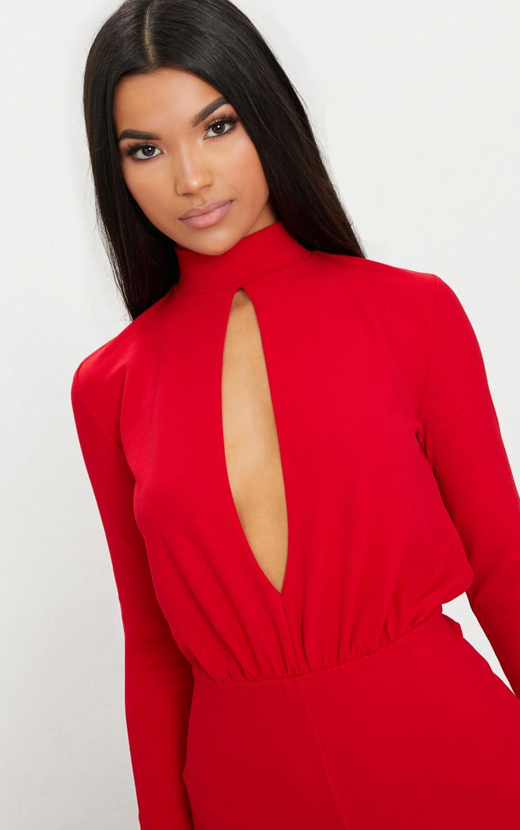 Red Keyhole Cut Out Playsuit 5
