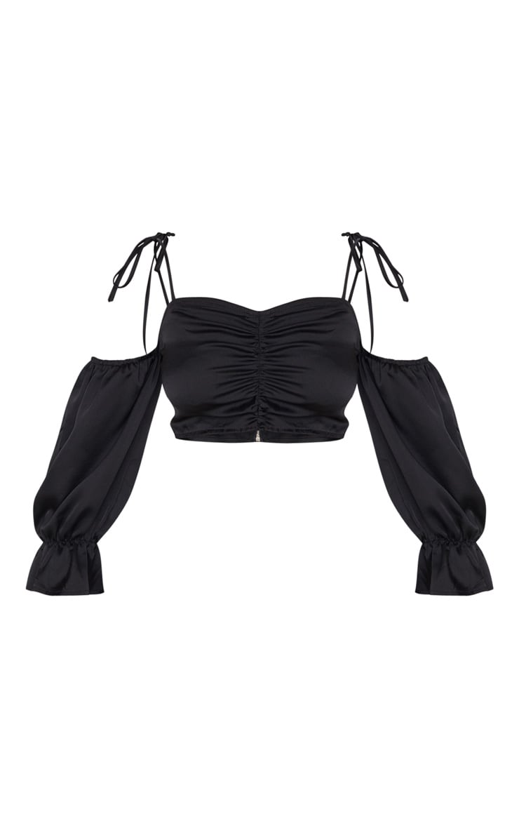 Petite Black Satin Puff Sleeve Crop Top 3