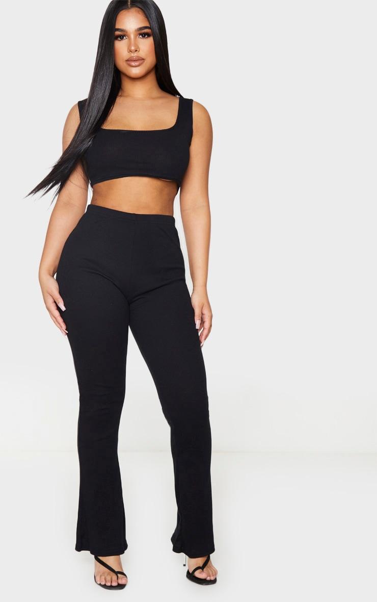 Petite Black Ribbed Wide Leg High Waisted Pants 1