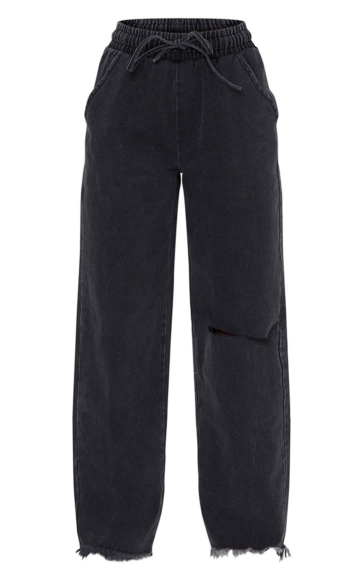 Washed Black Elasticated Waist Baggy Wide Leg Boyfriend Jeans 5