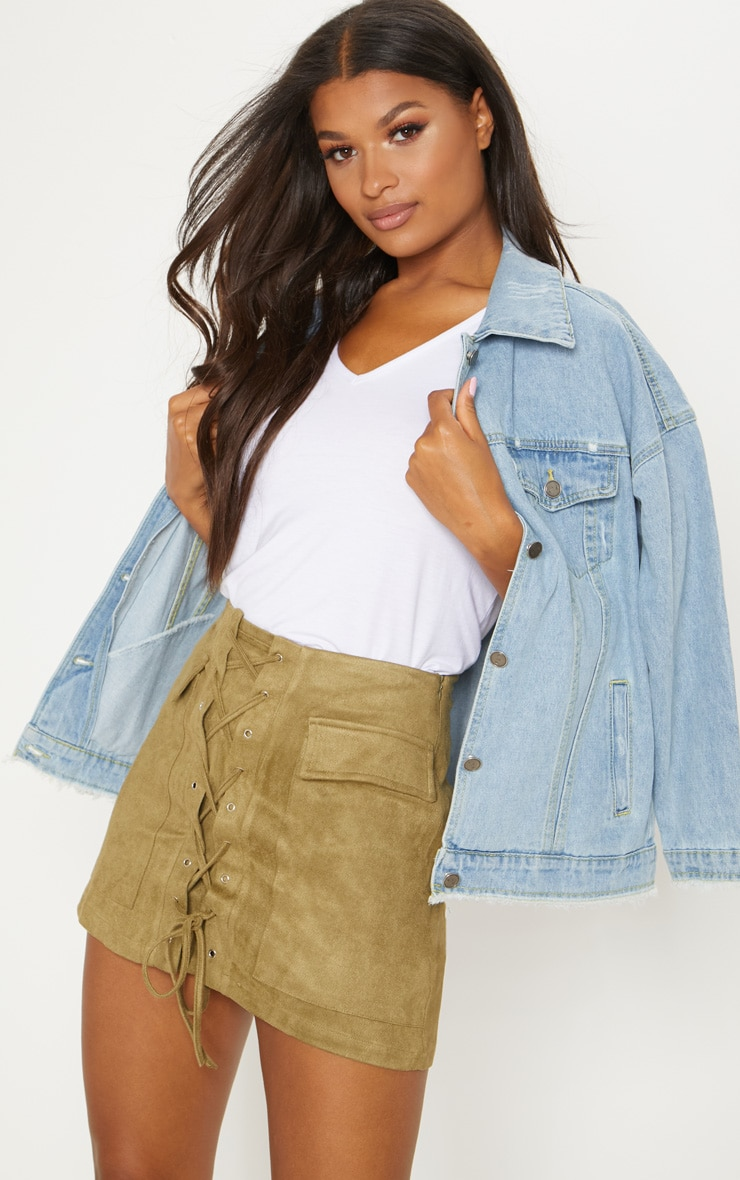 Khaki Faux Suede Lace Up Mini Skirt