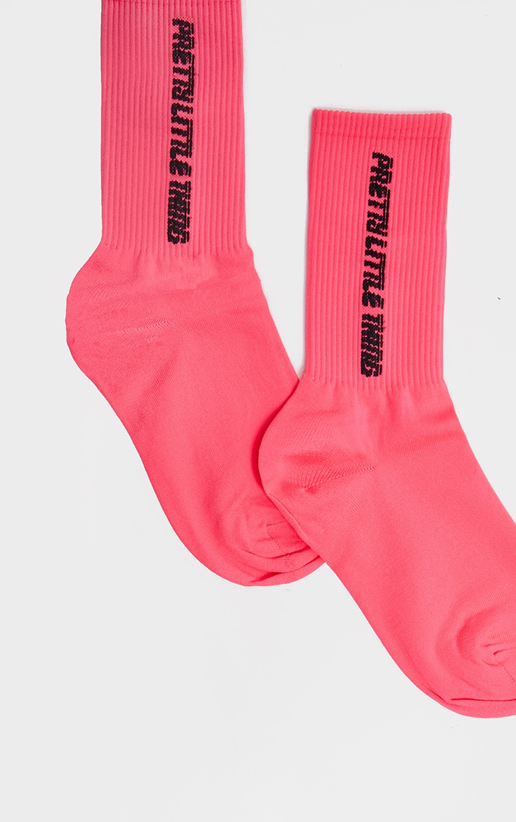 Neon Pink Pretty Little Thing Logo Socks 4