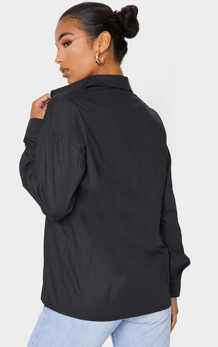 Black Button Cotton Oversized Shirt 2