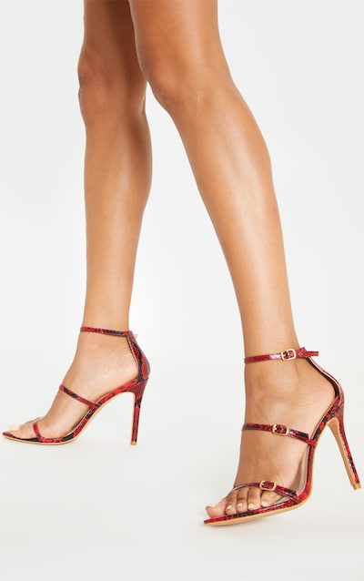Red Snake Triple Strap Point Toe Sandal