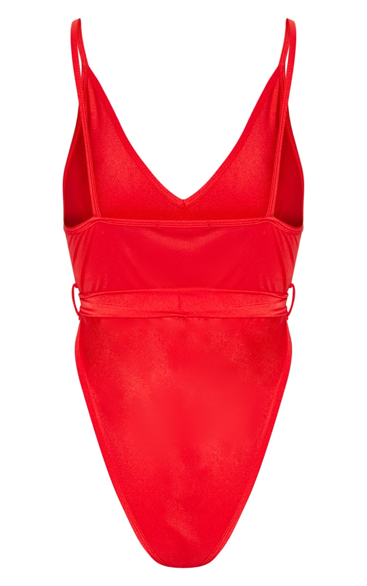 Red Tie Waist Belted Swimsuit 4