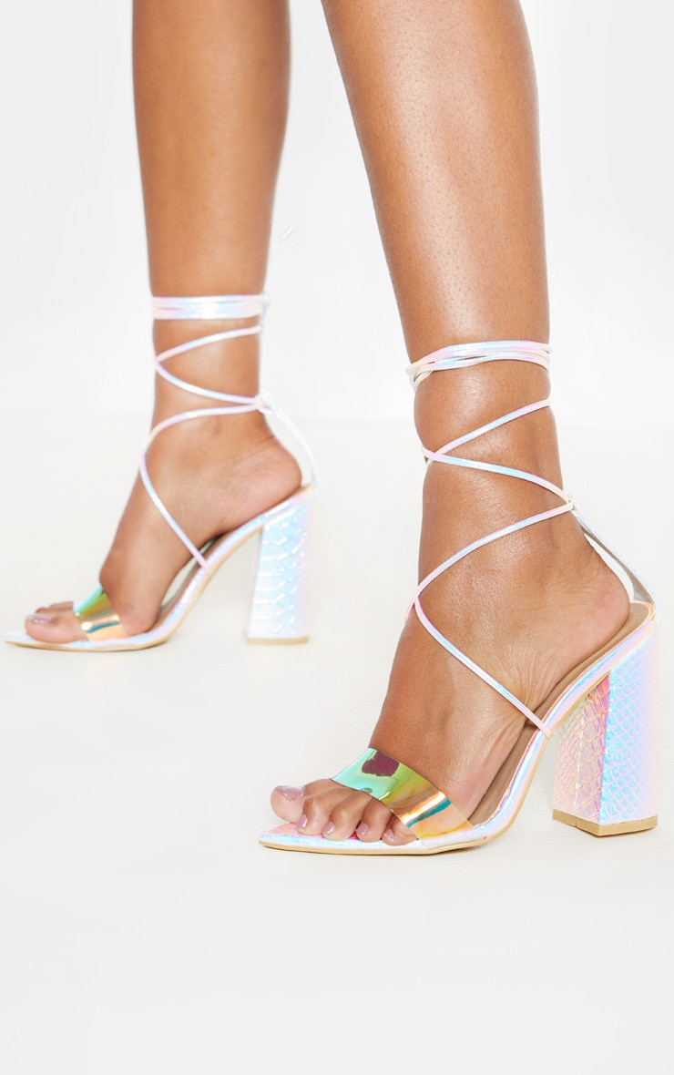 Reflective Ankle Lace Up Block Heel Point Toe Sandal by Prettylittlething