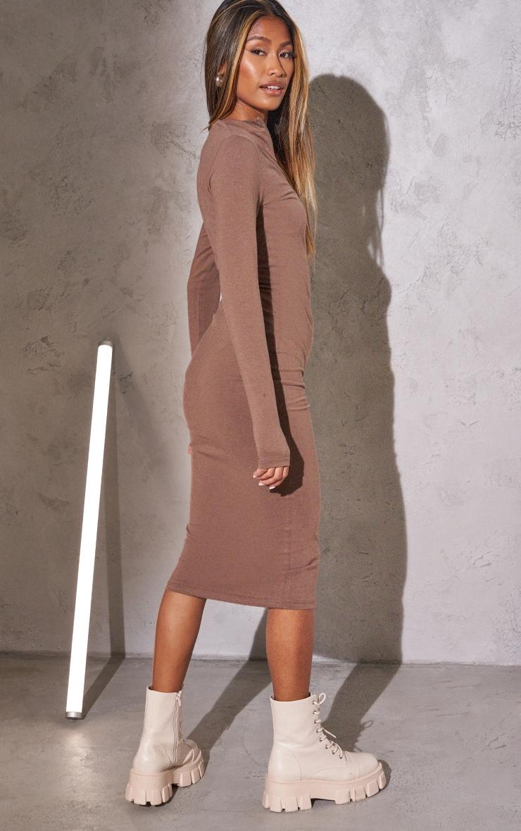 RENEW PRETTYLITTLETHING Light Chocolate Slogan Zip Front Long Sleeve Midi Dress 2