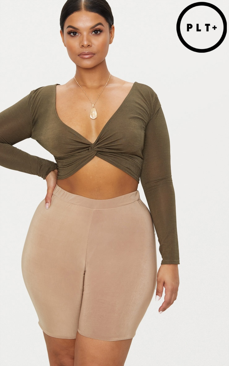 Plus Khaki Slinky Twist Front Crop Top 1