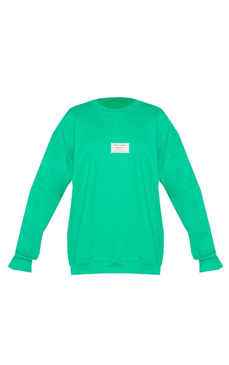 PRETTYLITTLETHING Bright Green Branded Apparel Woven Badge Sweatshirt 5