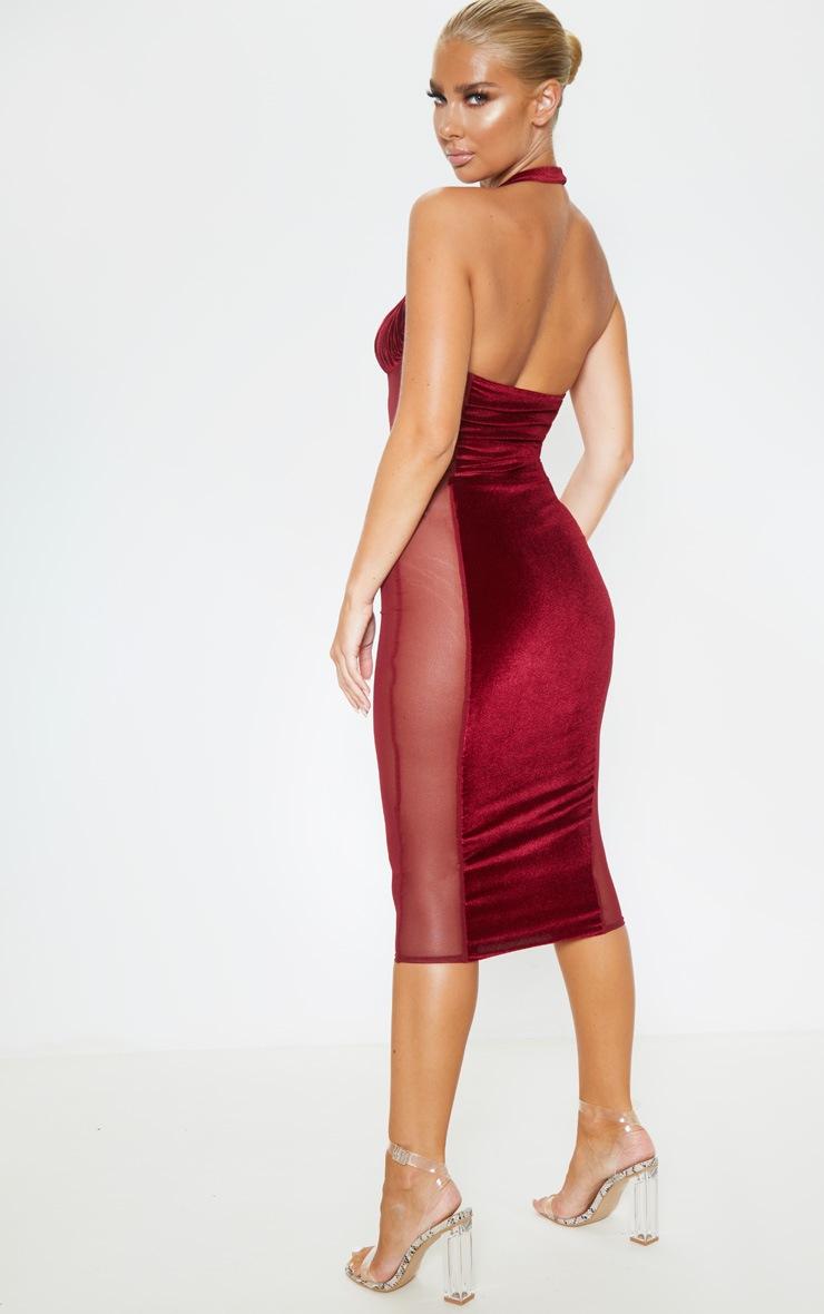 Burgundy Velvet Mesh Insert Halterneck Midi Dress 2