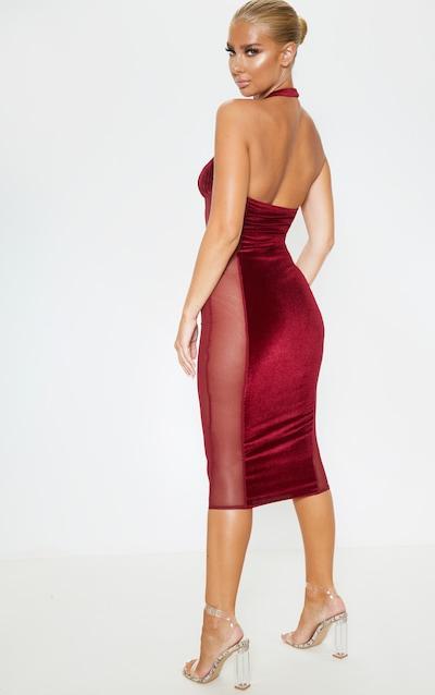 Burgundy Velvet Mesh Insert Halterneck Midi Dress