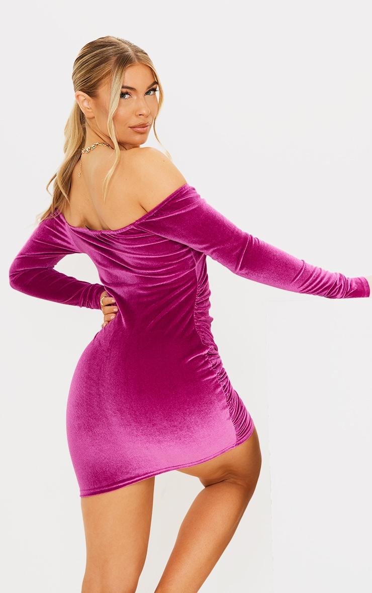 Pink Velvet Cup Detail Bardot Bodycon Dress 2