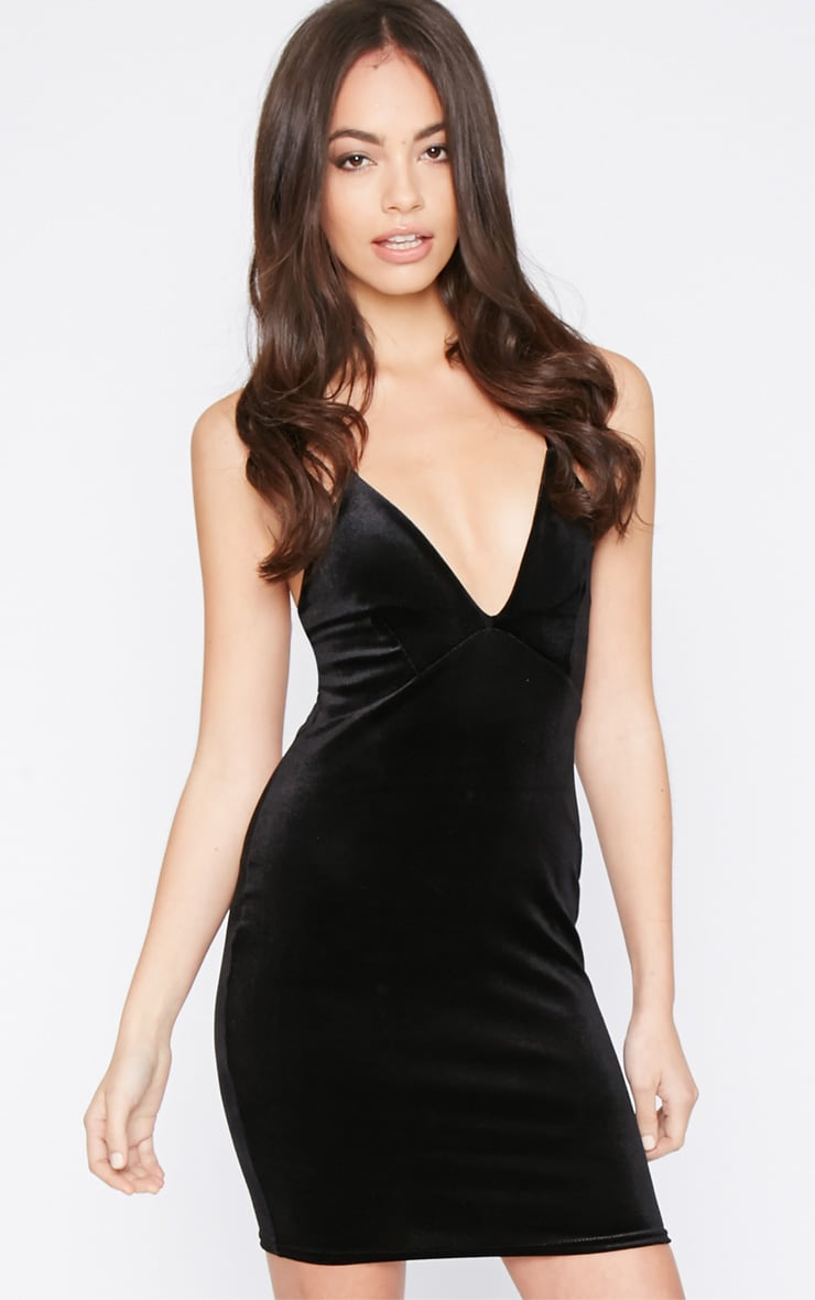 Monique Black Velvet Mini Dress 1