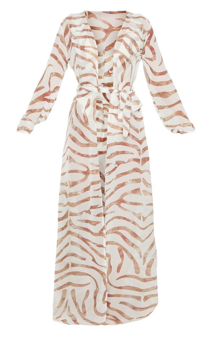 Cream Tiger Tie Waist Kimono 3