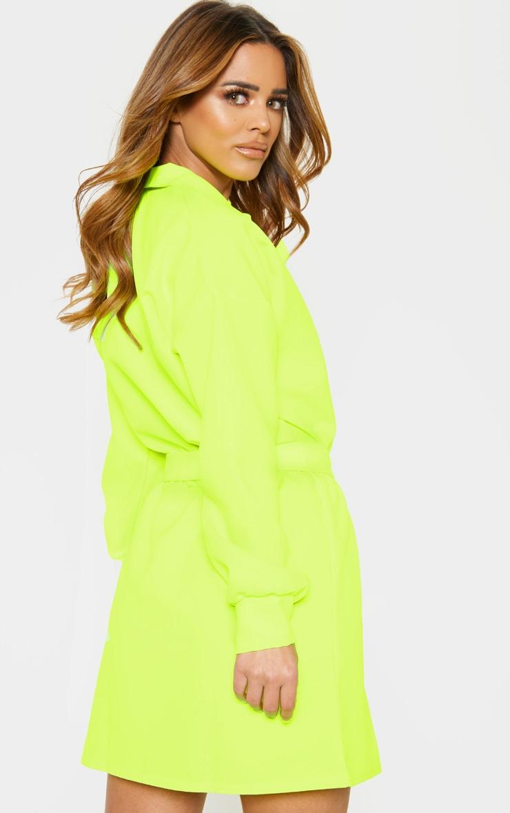 Petite - Robe chemise cargo vert citron fluo à ceinture 2