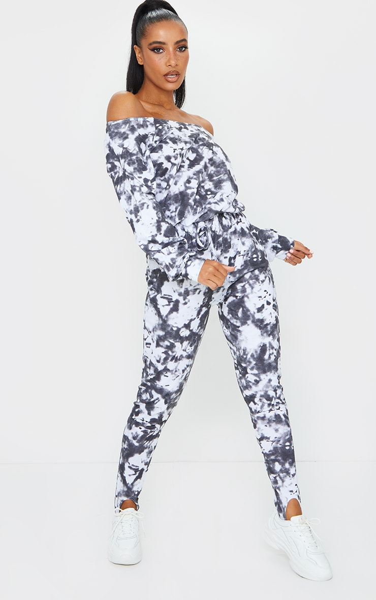 Black Tie Dye Sweat Bardot Stirrup Jumpsuit 1