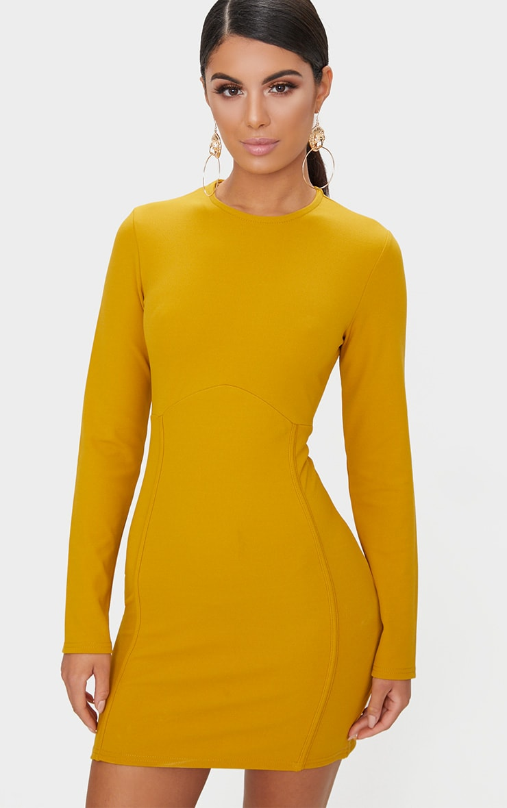 Mustard Long Sleeve Cocktail Dresses