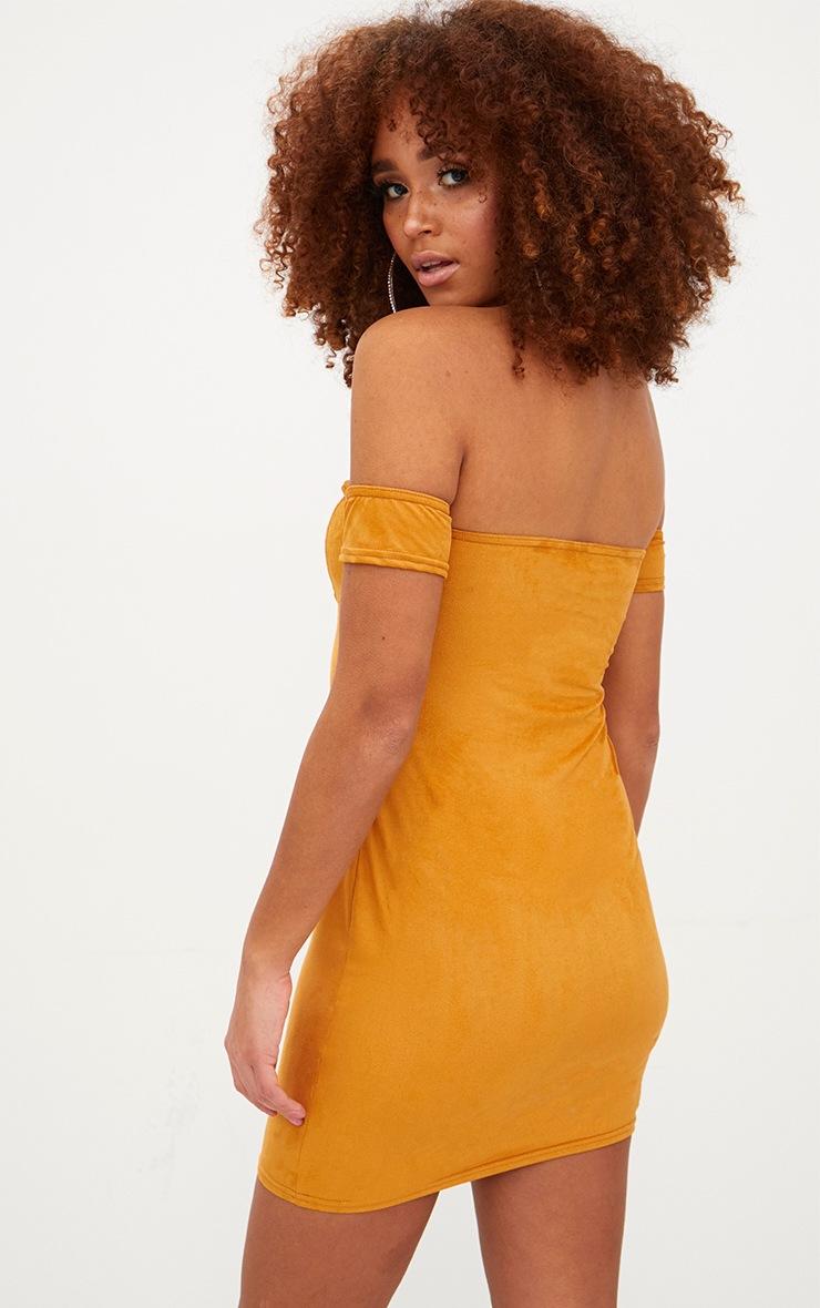 Mustard Faux Suede Arm Cuff Bodycon Dress 2