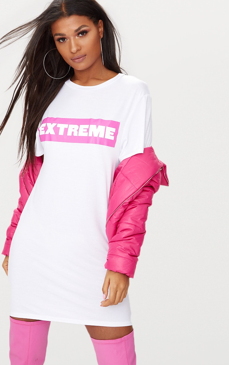 'Extreme' White T Shirt Dress 1