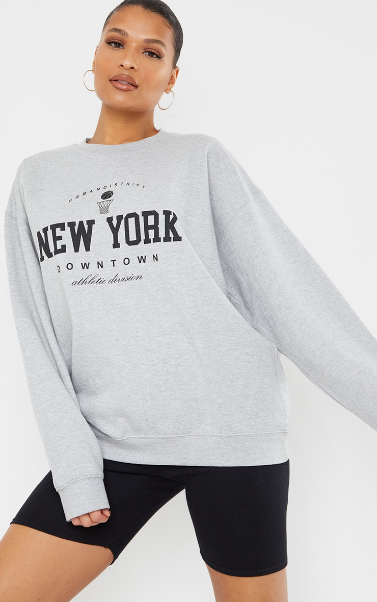 Grey New York Downtown Slogan Printed Sweatshirt 3
