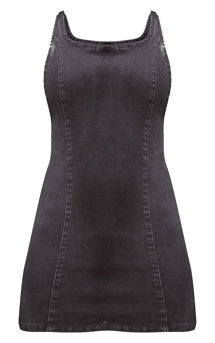 Black Strappy Back Denim Mini Dress 5