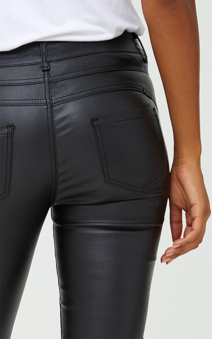 Black Coated Denim 5 Pocket Skinny Jean 4