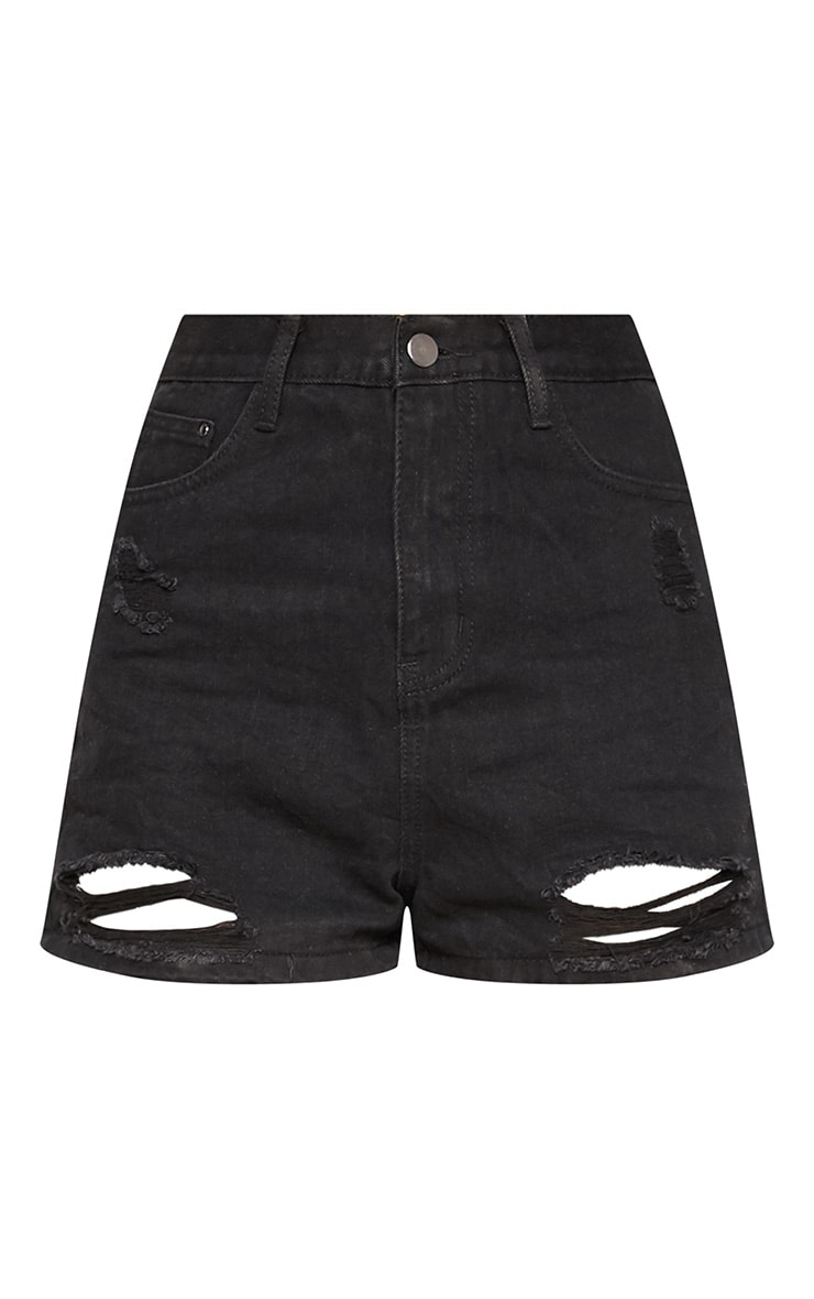 Black Bum Rip Denim Short 3