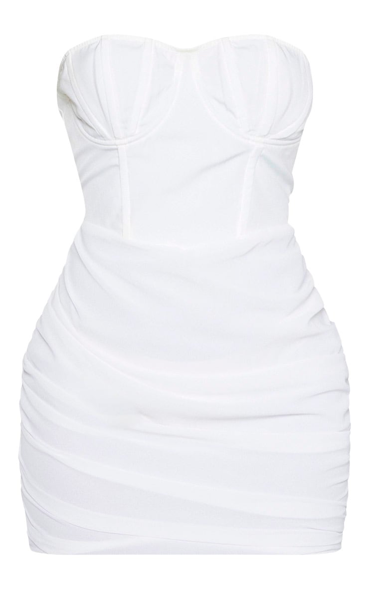 White Bandeau Binded Cup Detail Ruched Bodycon Dress 4