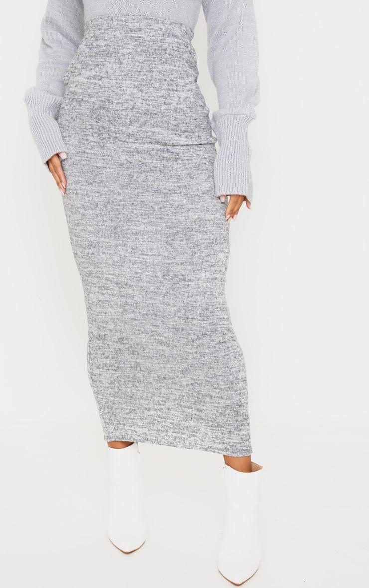 Grey Brushed Marl Maxi Skirt 2