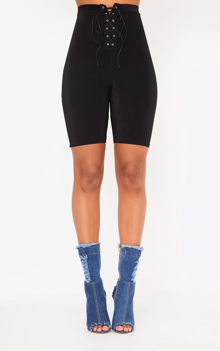 Black Slinky Lace Up Cycle Shorts 2
