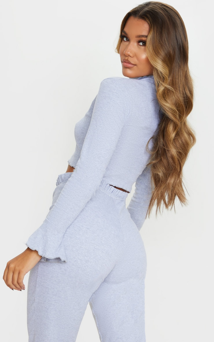 Grey Rib Frill Detail Long Sleeve Crop Top 2
