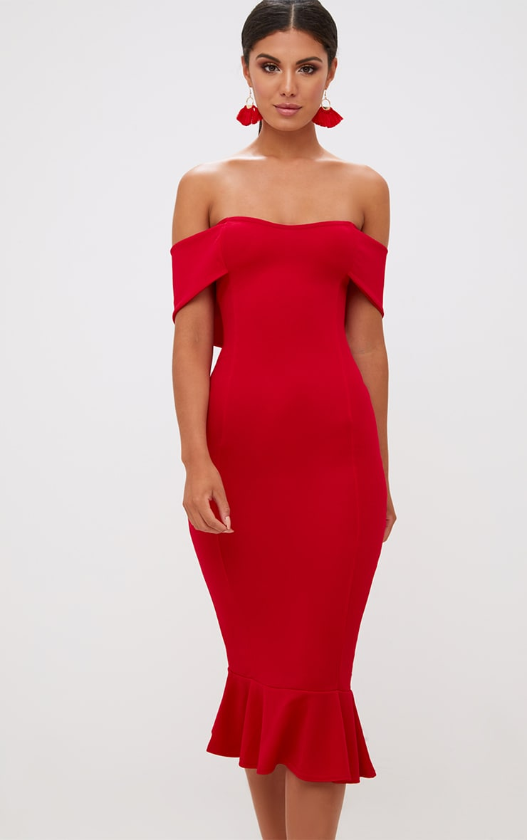 Red Bardot Frill Hem Midi Dress Dresses Prettylittlething