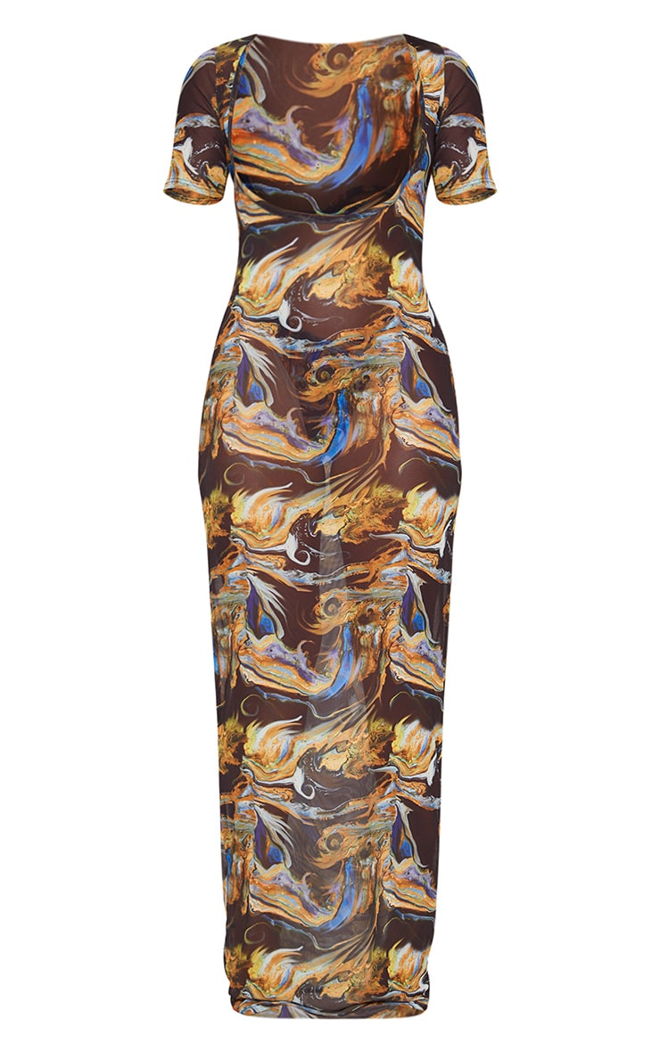 Black Acid Print Short Sleeve Scoop Mesh Maxi Beach Dress 5