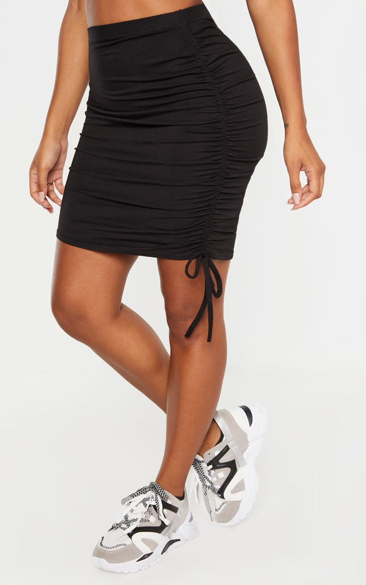Shape - Jupe en jersey noir à côté froncé 2