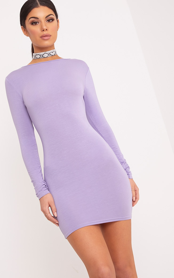 Basic Lilac Scoop Back Bodycon Dress 3
