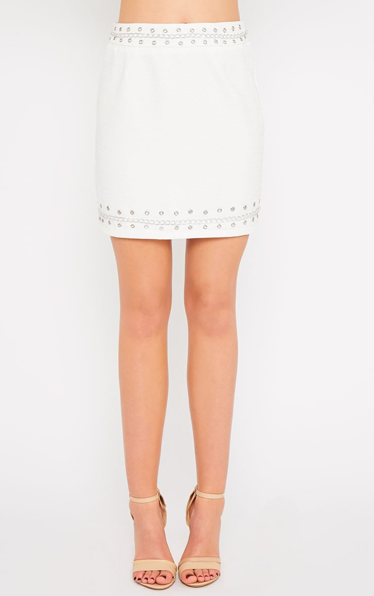 Evelyn White Chain Trim Mini Skirt -XS 3